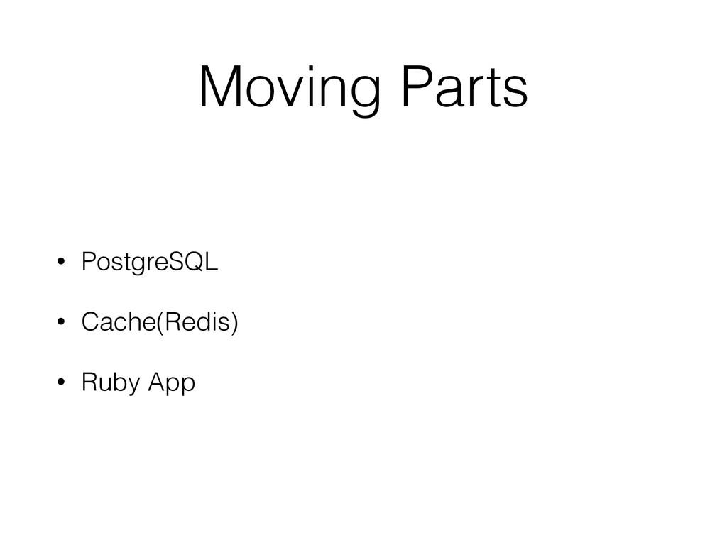 Moving Parts • PostgreSQL • Cache(Redis) • Ruby...