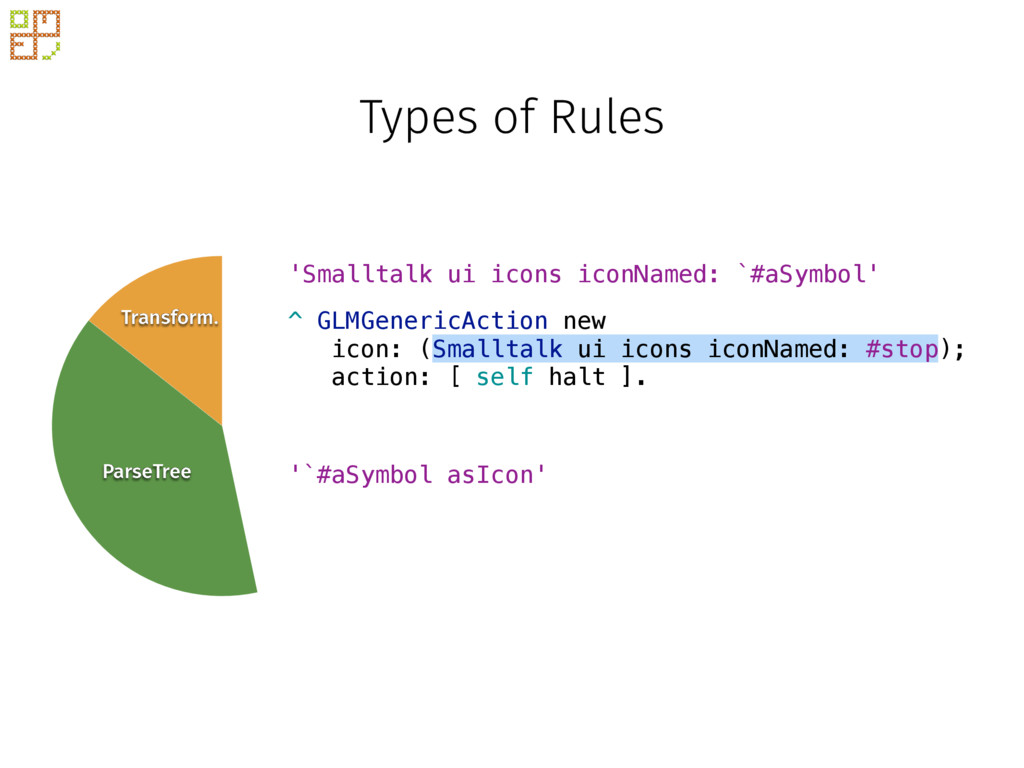 Types of Rules Transform. ParseTree Block ^ GLM...