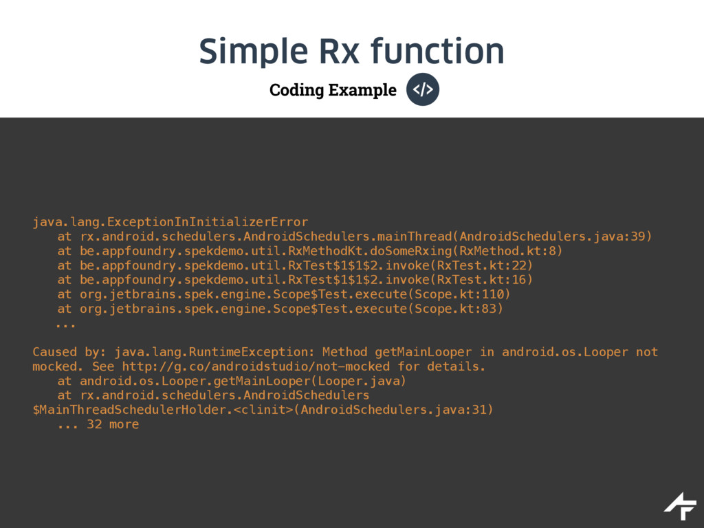 Coding Example Simple Rx function java.lang.Exc...