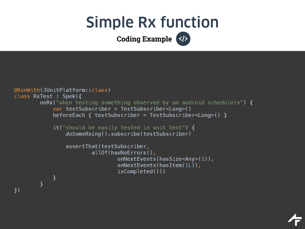 Coding Example Simple Rx function @RunWith(JUni...