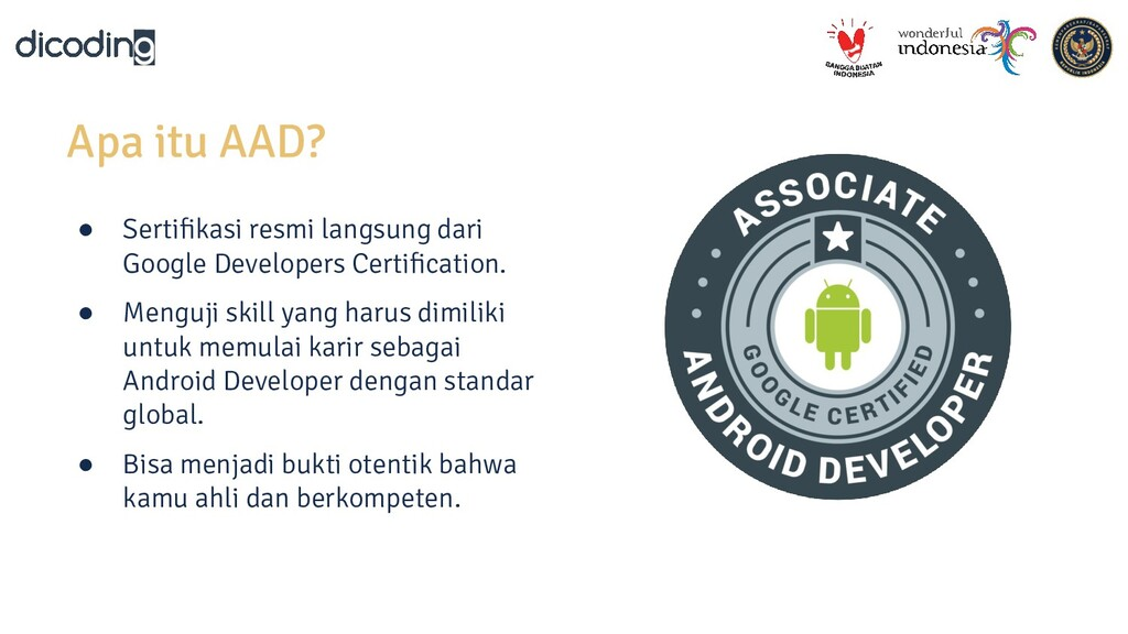 Apa itu AAD? ● Sertifikasi resmi langsung dari G...