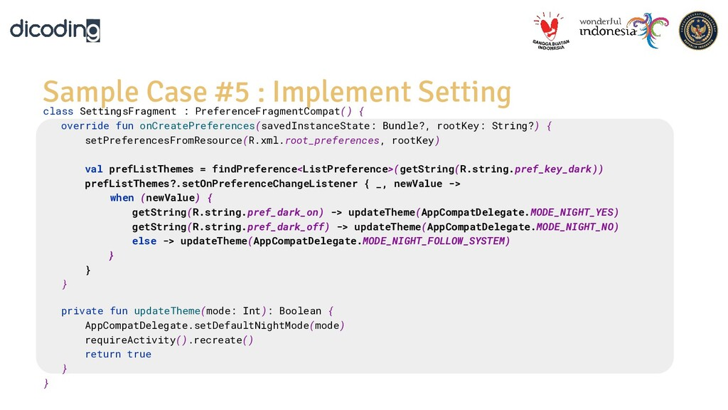 Sample Case #5 : Implement Setting class Settin...