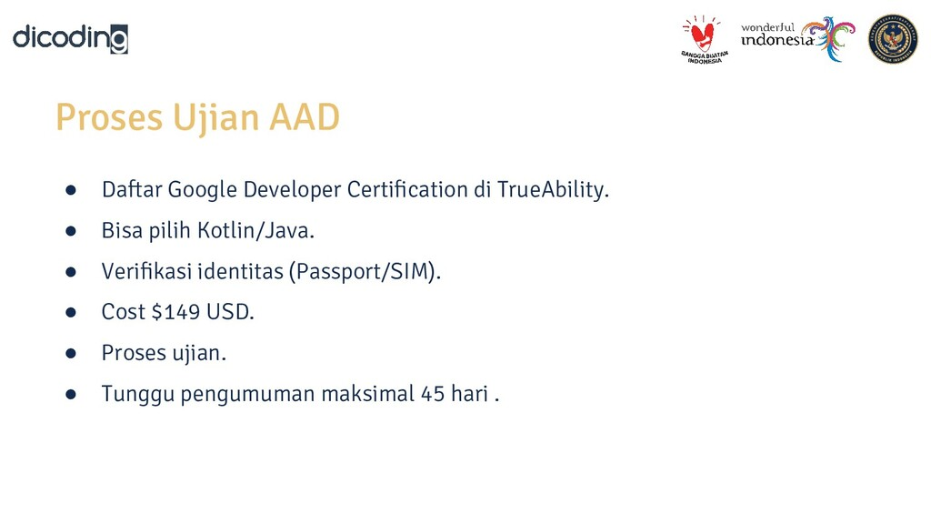 Proses Ujian AAD ● Daftar Google Developer Cert...