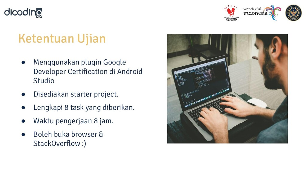 Ketentuan Ujian ● Menggunakan plugin Google Dev...