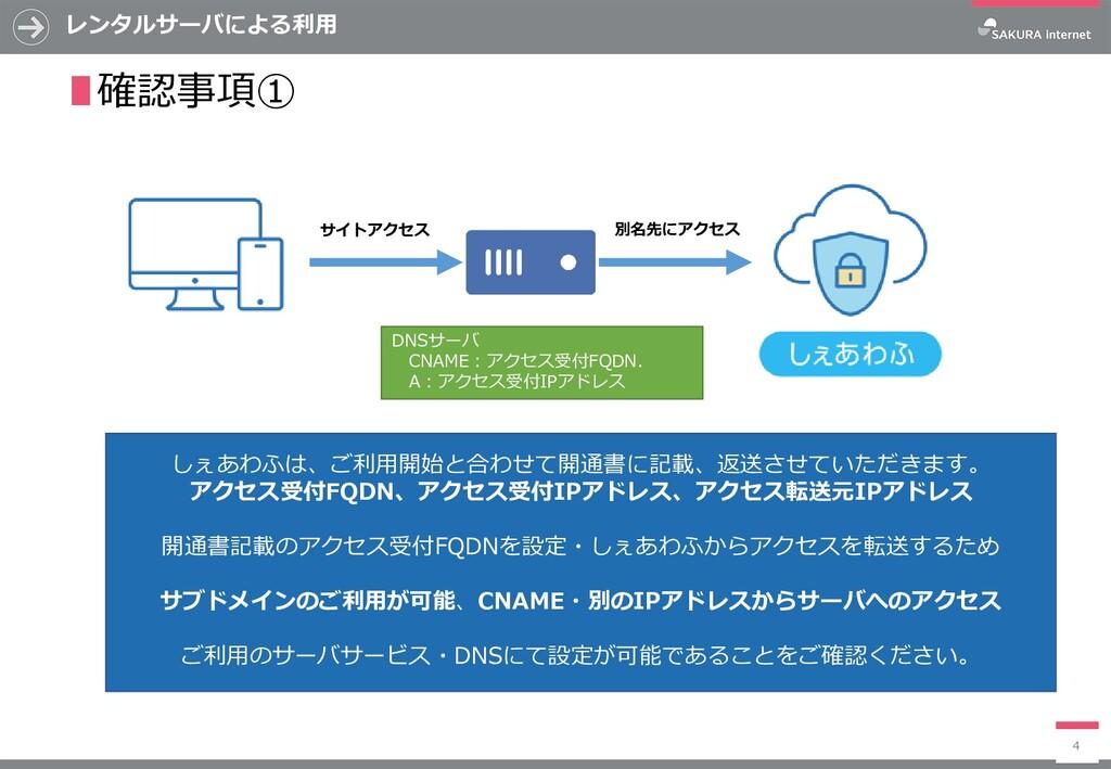 レンタルサーバによる利用 4 ∎確認事項① しぇあわふは、ご利用開始と合わせて開通書に記載、返...