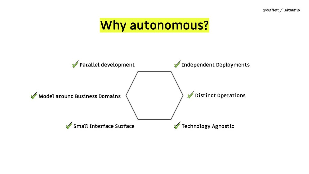@duffleit leitner.io Why autonomous? ✔ Independe...
