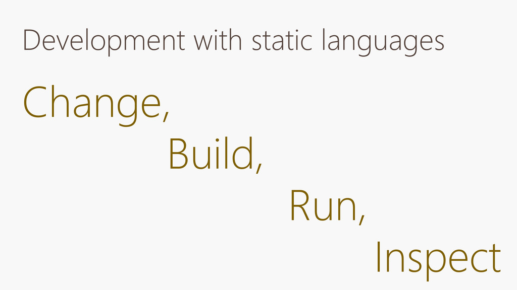 Development with static languages Change, Build...