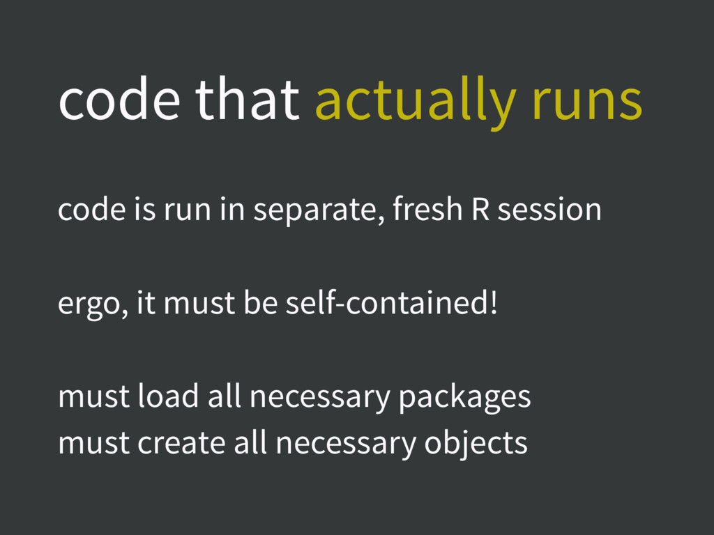 code that actually runs code is run in separate...