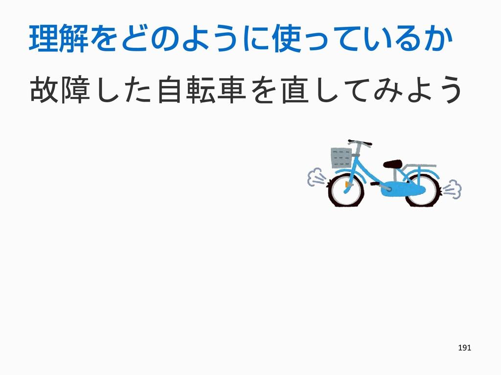 191 理解をどのように使っているか 故障した自転車を直してみよう