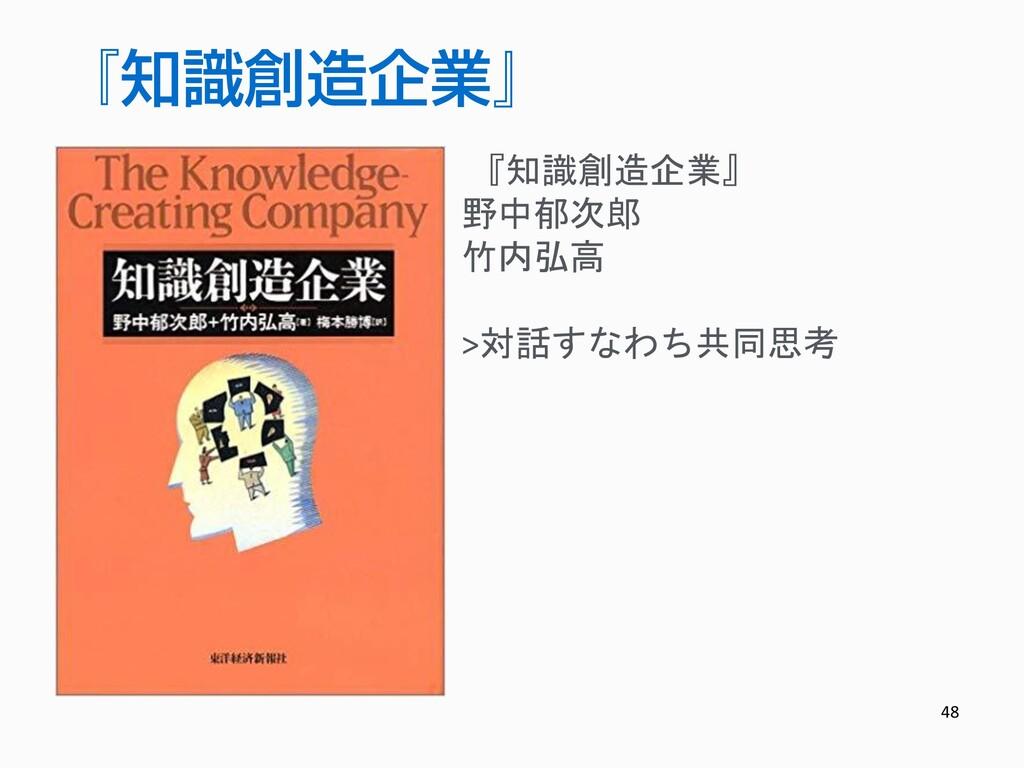 48 『知識創造企業』 野中郁次郎 竹内弘高 >対話すなわち共同思考 『知識創造企業』