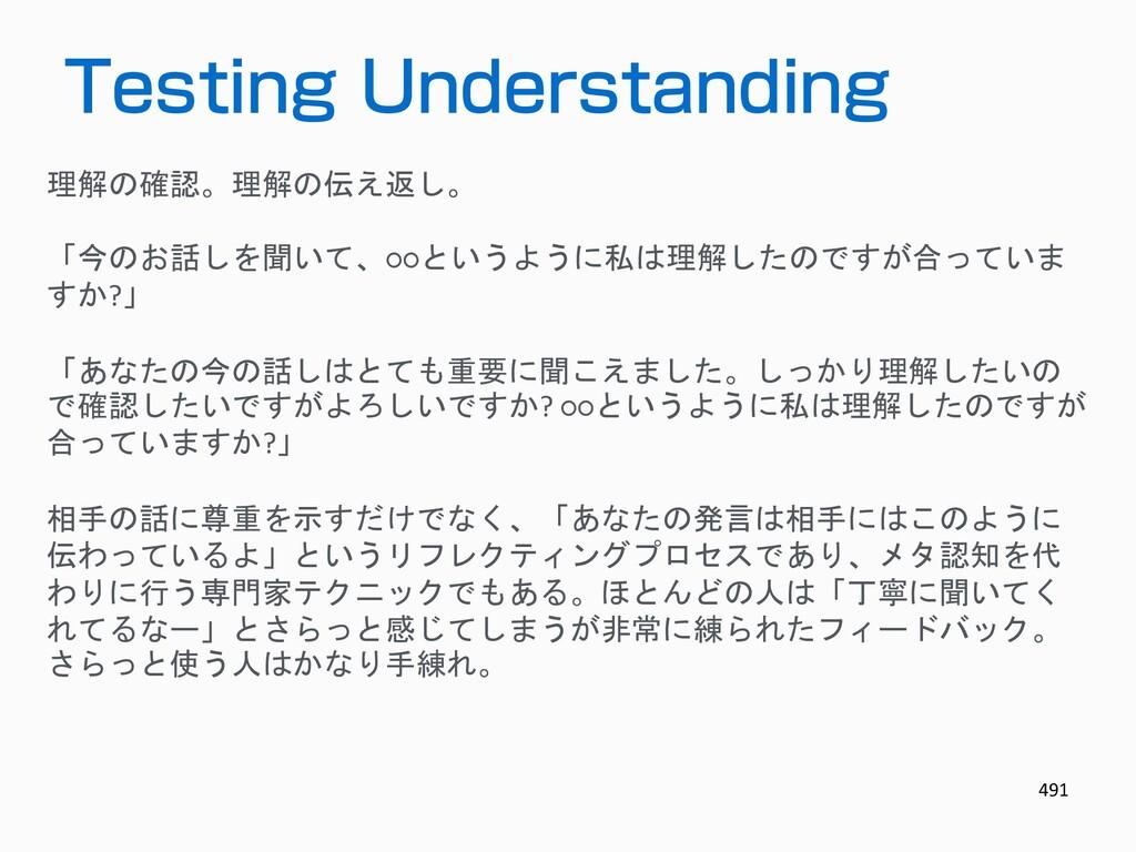 491 Testing Understanding 理解の確認。理解の伝え返し。 「今のお話し...