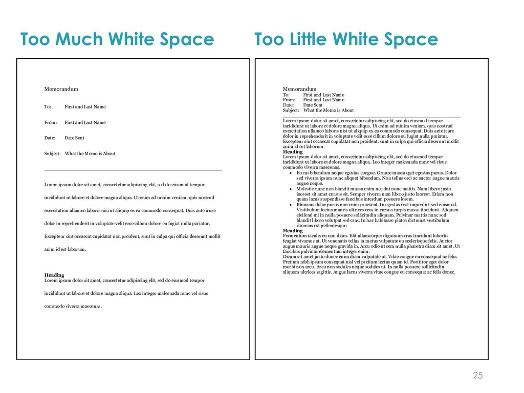 Too Much White Space 25 Memorandum To: First an...
