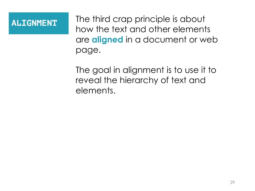 The third crap principle is about how the text ...