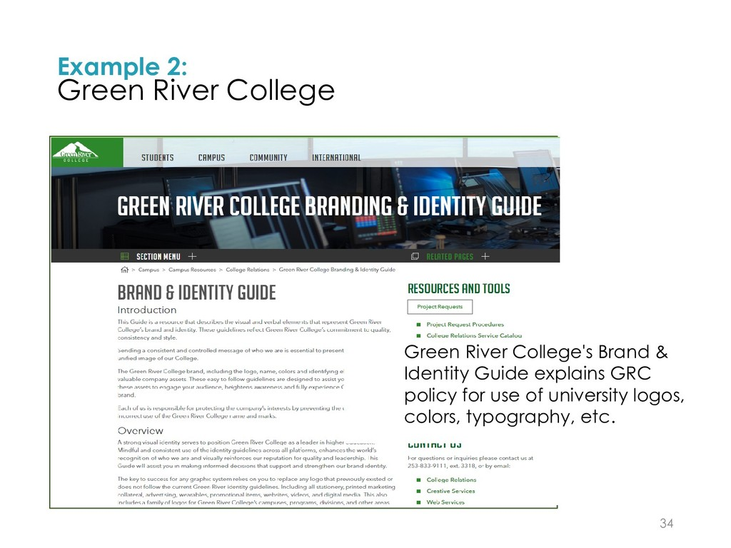 Example 2: Green River College 34 Green River C...