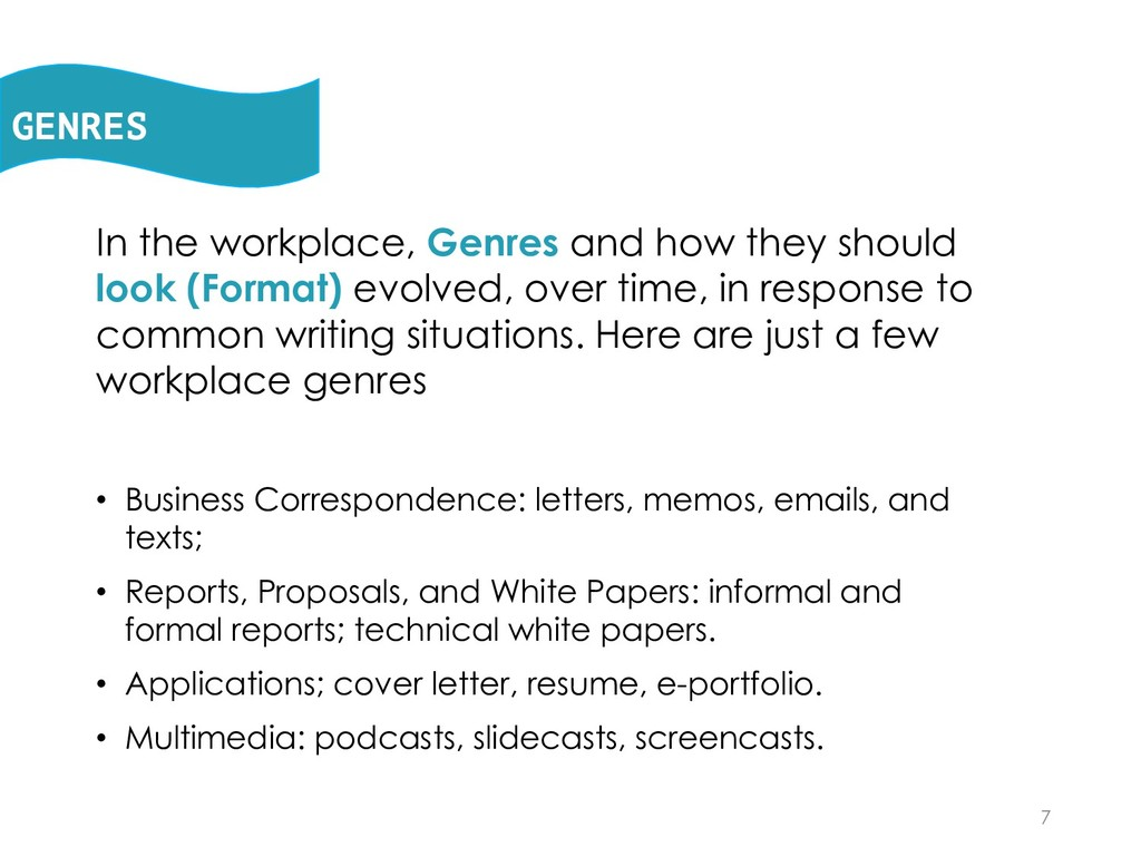 In the workplace, Genres and how they should lo...