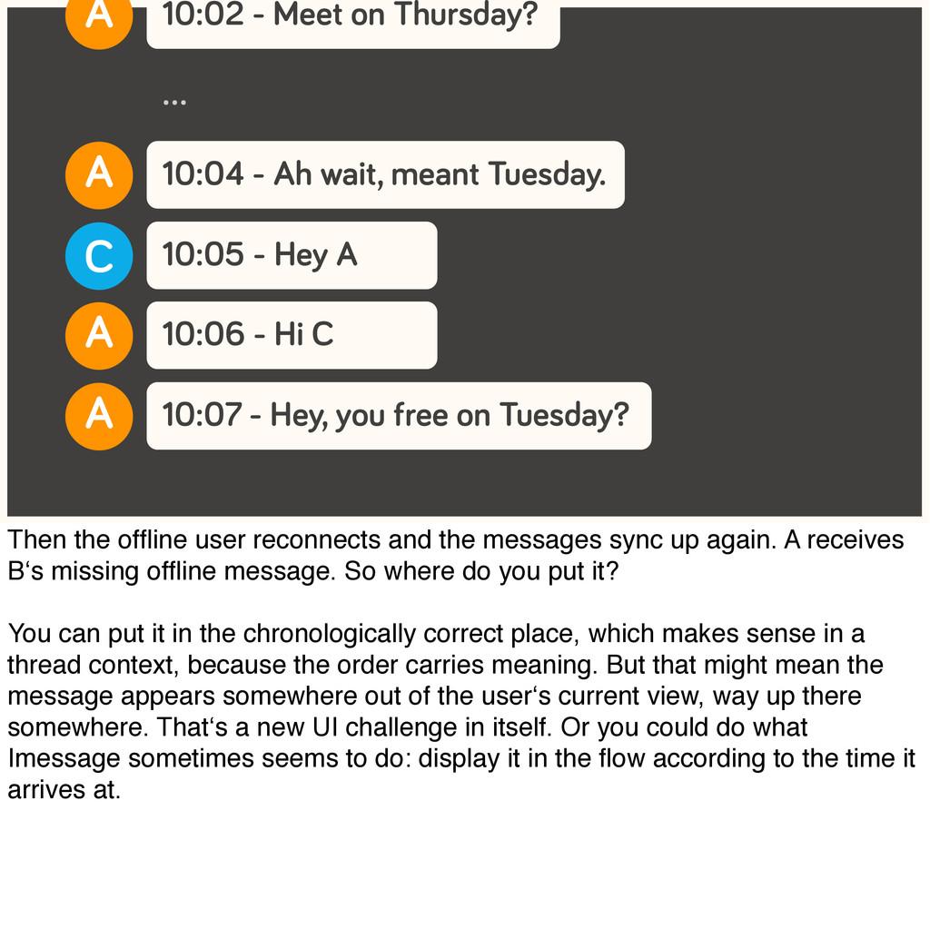 10:02 - Meet on Thursday? A 10:04 - Ah wait, me...
