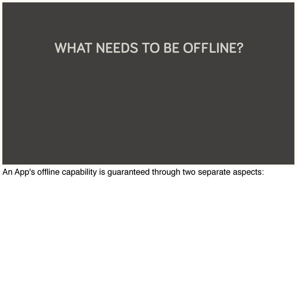 WHAT NEEDS TO BE OFFLINE? An App's offline capab...