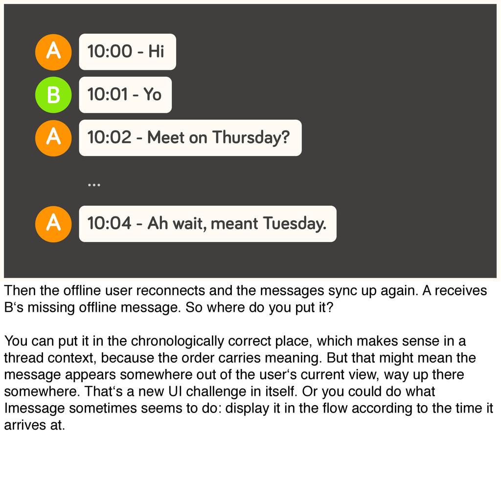 10:00 - Hi 10:01 - Yo A B 10:02 - Meet on Thurs...