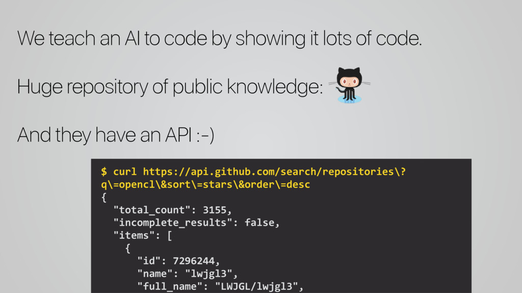 We teach an AI to code by showing it lots of co...