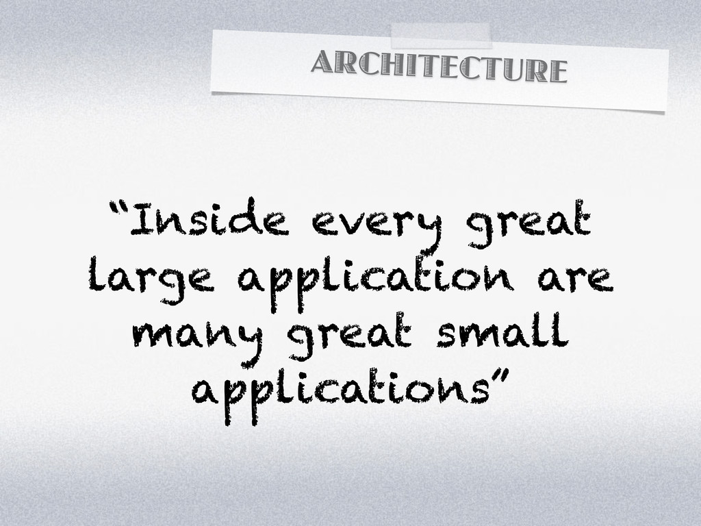 """ARCHITECTURE """"Inside every great large applicat..."""
