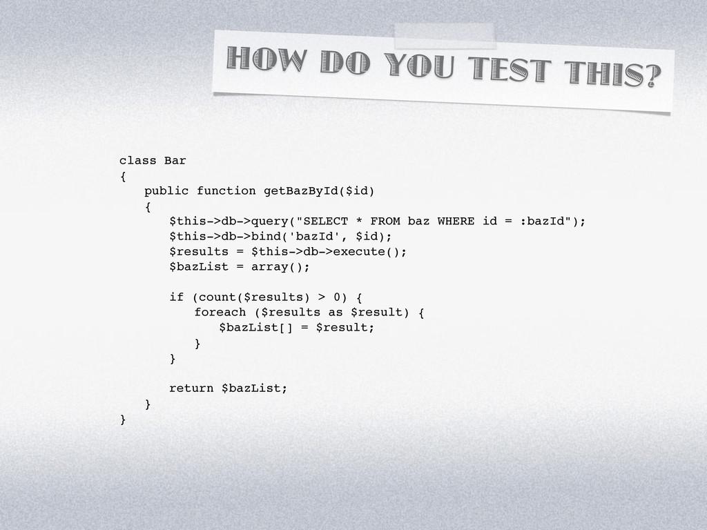 HOW DO YOU TEST THIS? class Bar { ! public func...