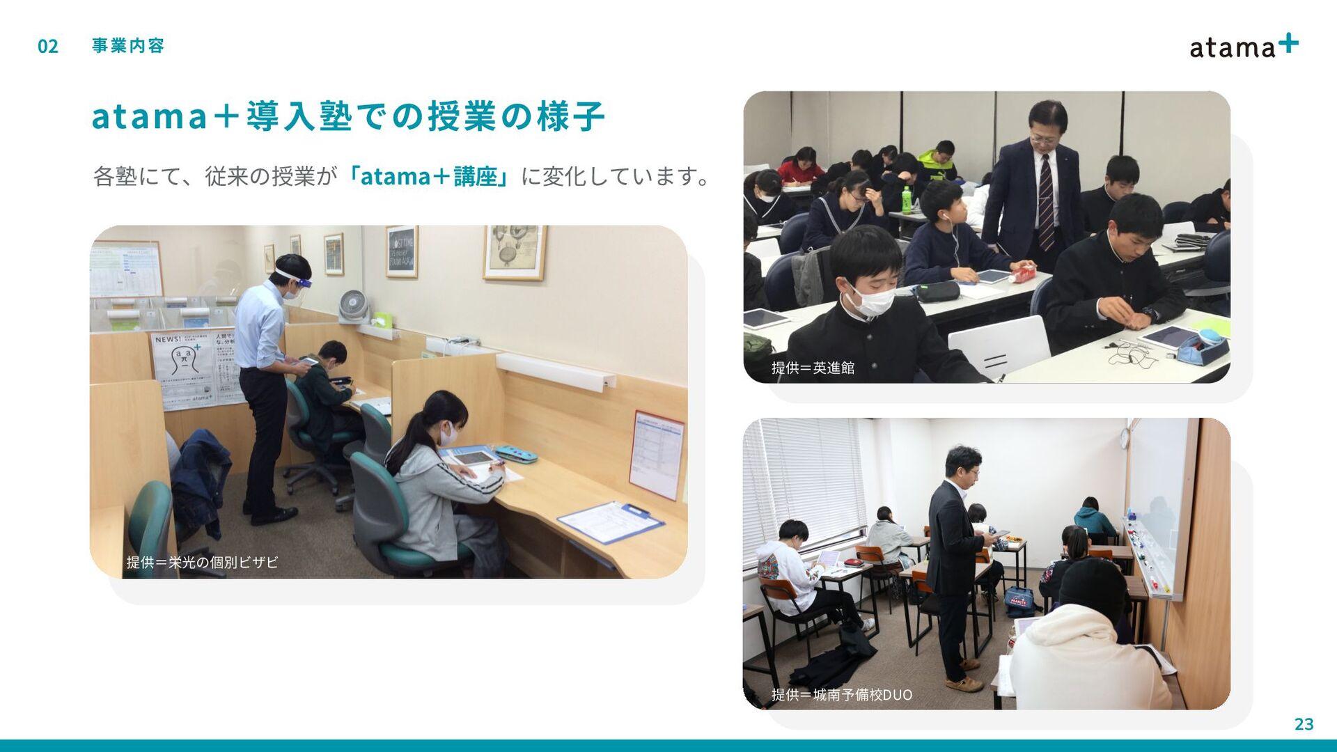 atama+導入塾での授業の様子 02 事業内容 22 各塾にて、従来の授業が「atama+講...