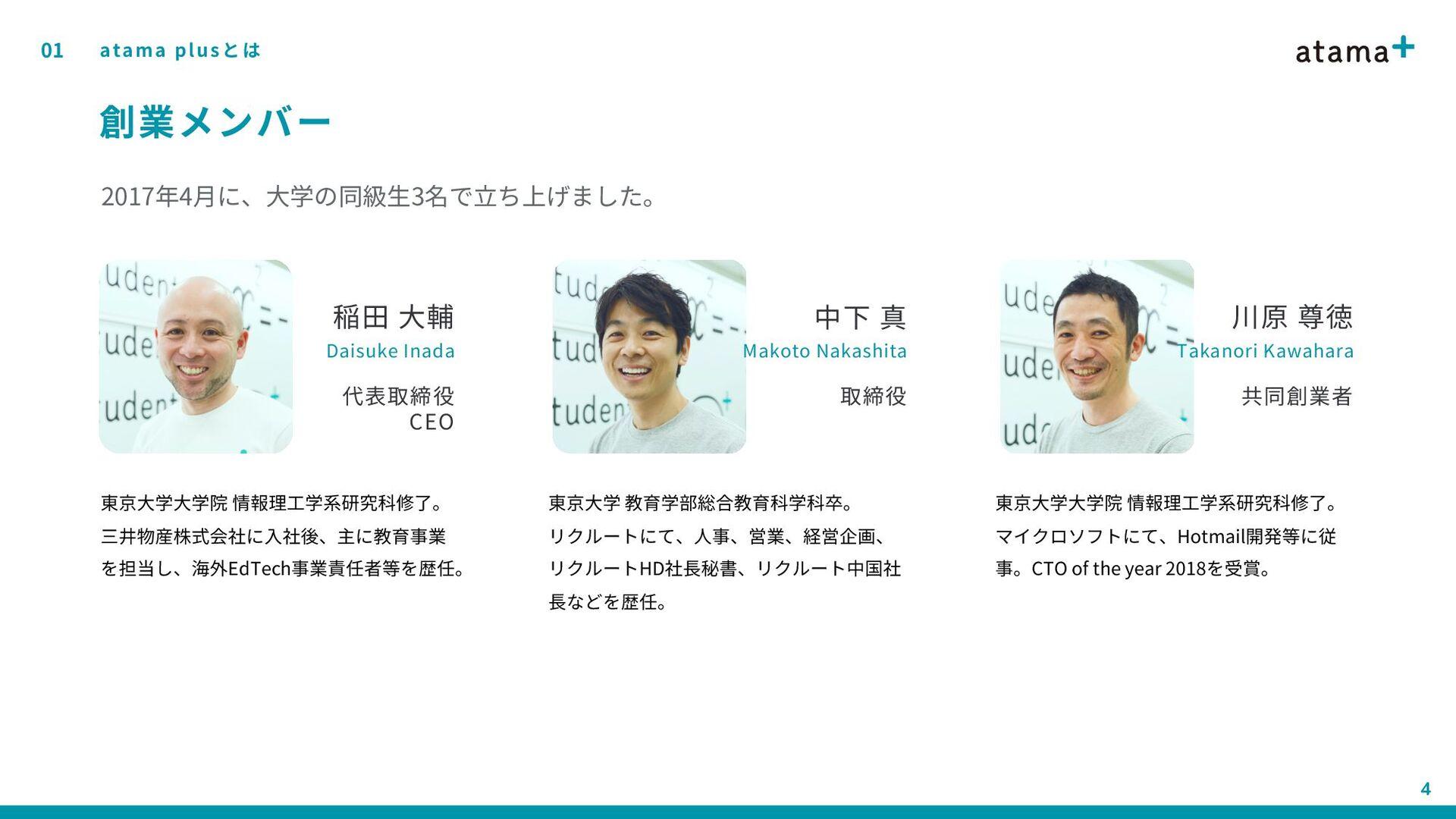 01 4 創業メンバー atama plusとは 稲田 大輔 Daisuke Inada 代表...