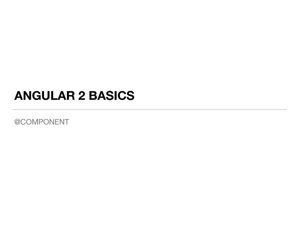 ANGULAR 2 BASICS @COMPONENT