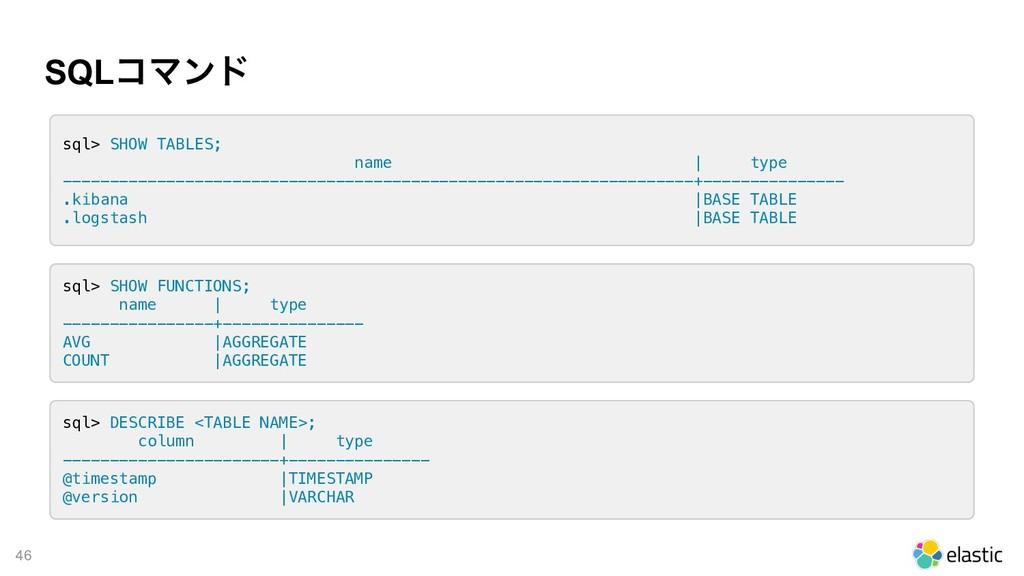 !46 SQLίϚϯυ sql> SHOW TABLES; name | type -----...