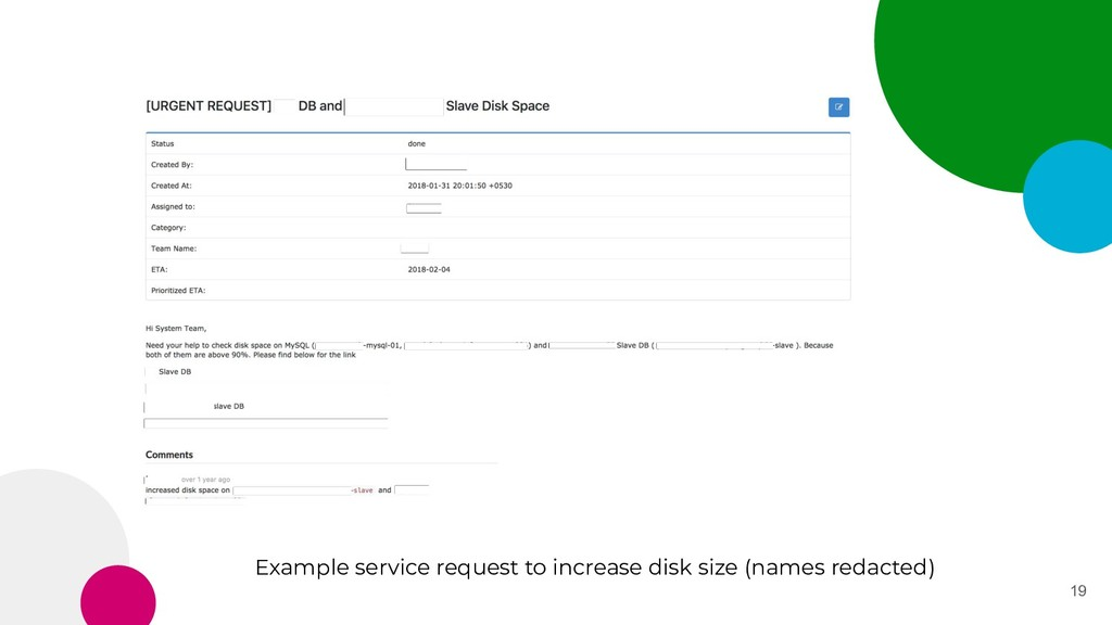 19 Example service request to increase disk siz...