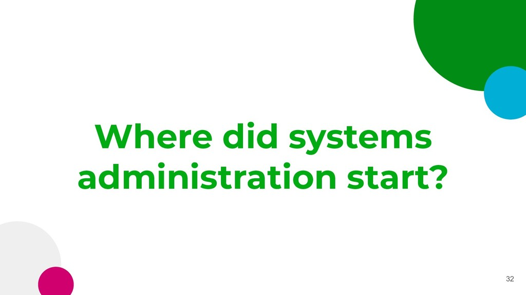 Where did systems administration start? 32