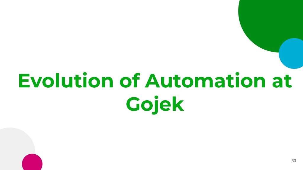 Evolution of Automation at Gojek 33