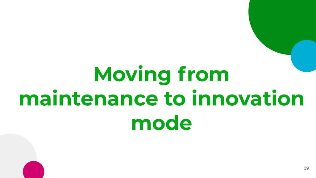 Moving from maintenance to innovation mode 39