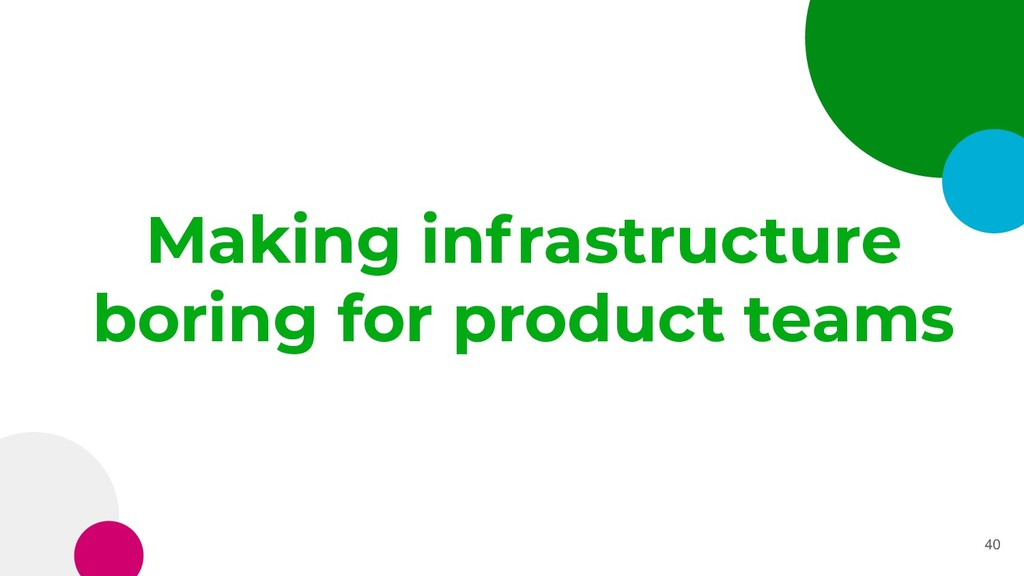 Making infrastructure boring for product teams ...