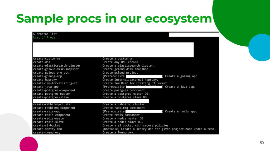 Sample procs in our ecosystem 50
