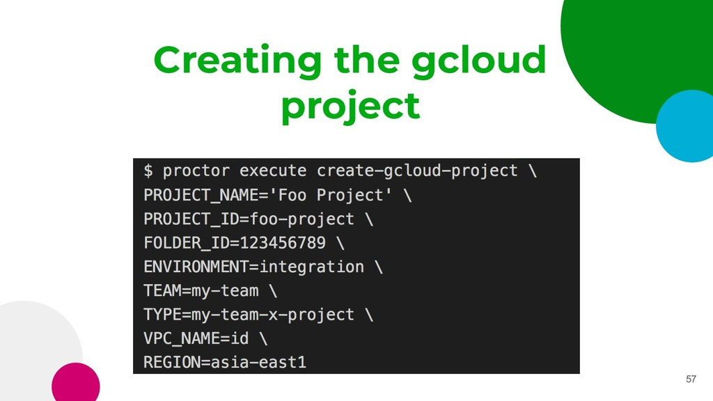 Creating the gcloud project 57
