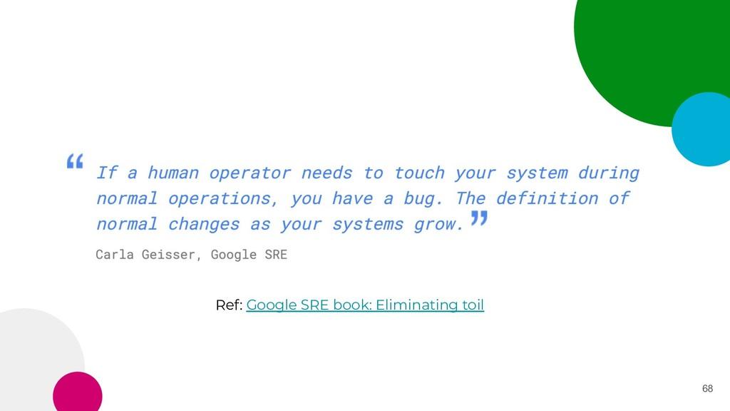 68 Ref: Google SRE book: Eliminating toil