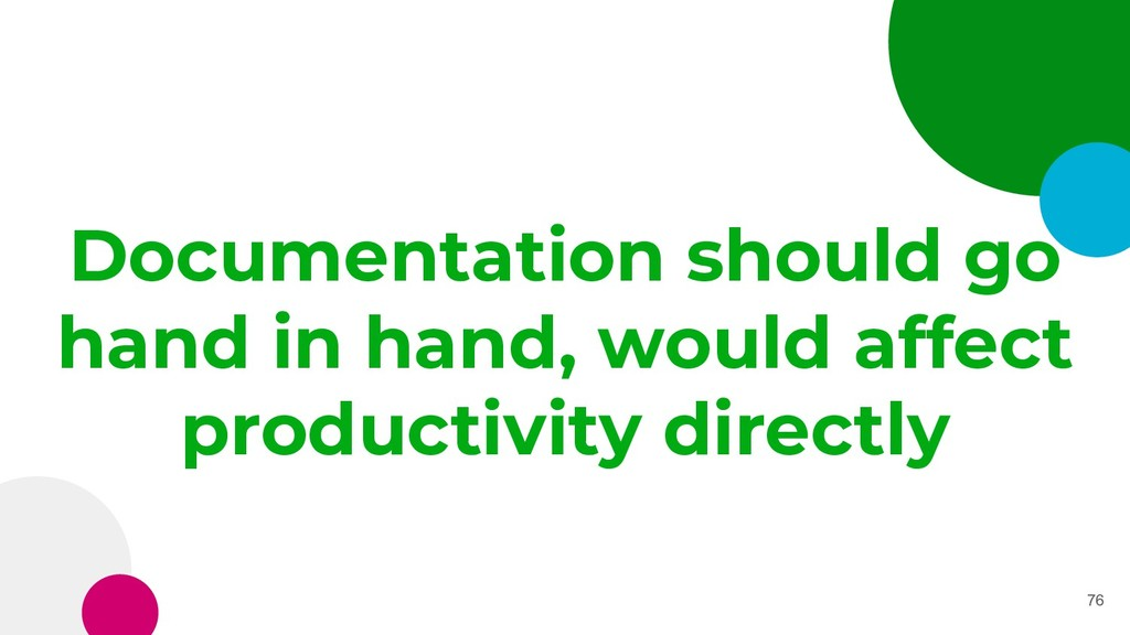 Documentation should go hand in hand, would aff...