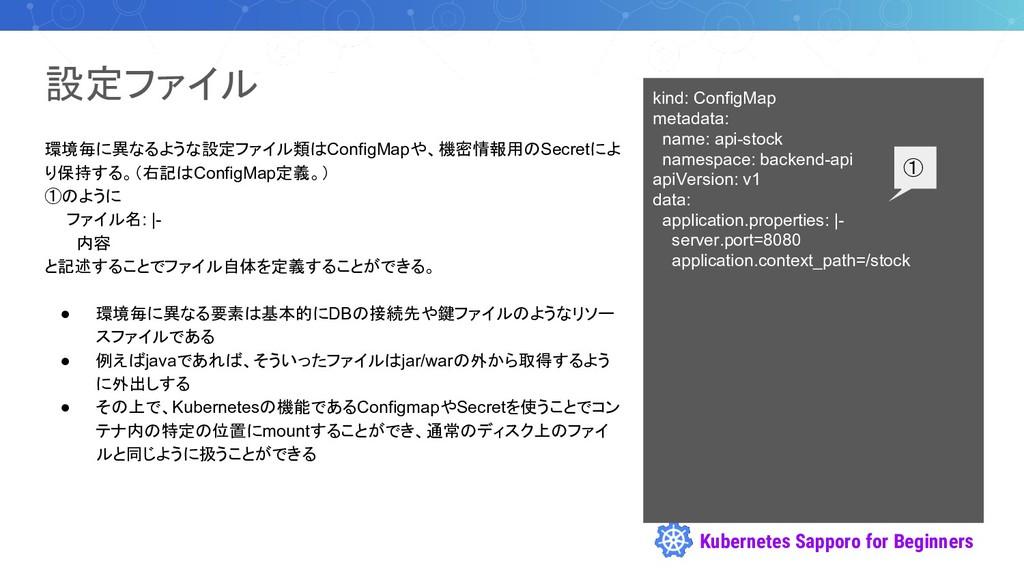 Kubernetes Sapporo for Beginners 設定ファイル 環境毎に異なる...