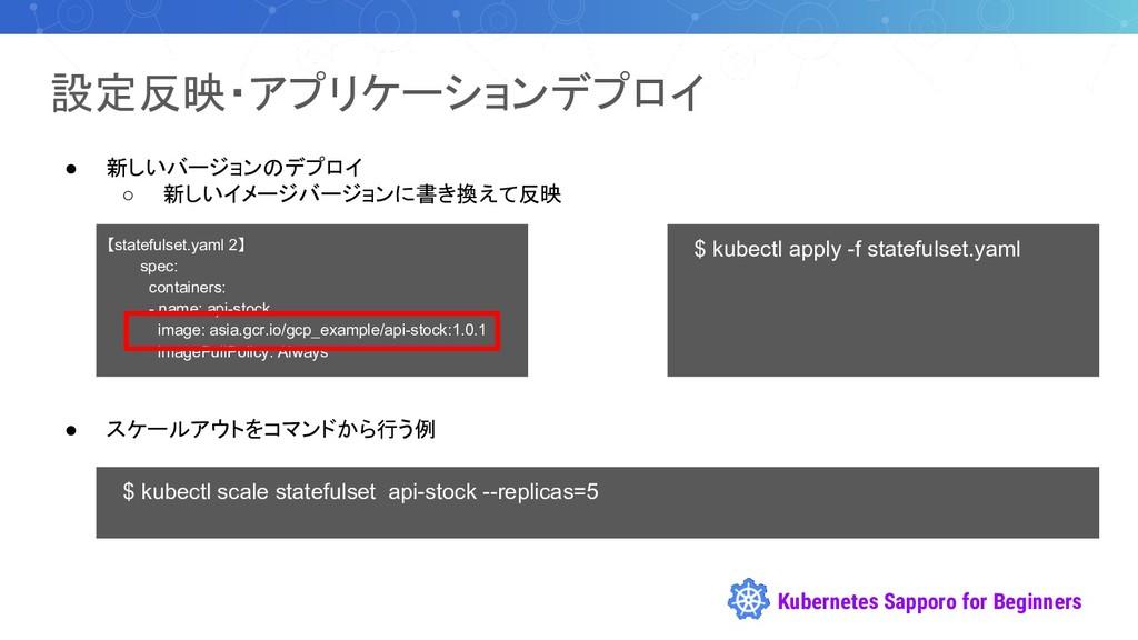Kubernetes Sapporo for Beginners 設定反映・アプリケーションデ...
