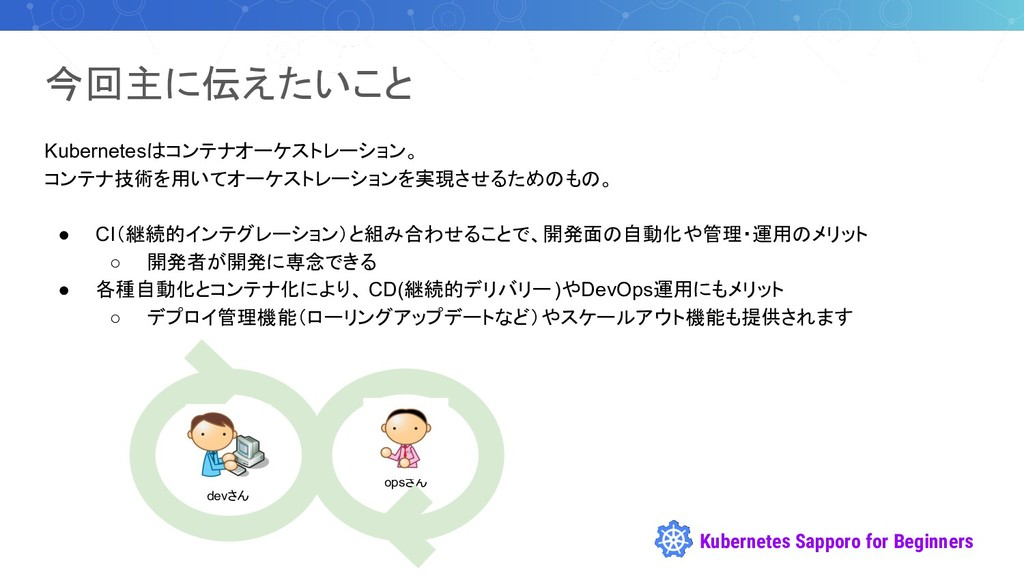 Kubernetes Sapporo for Beginners Kubernetesはコンテ...