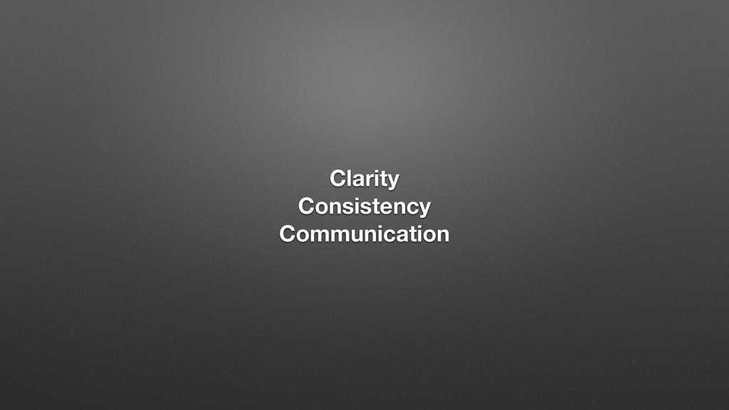 Clarity Consistency Communication