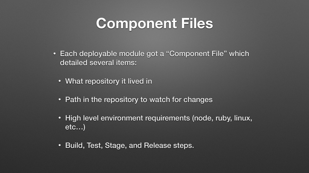 Component Files • Each deployable module got a ...