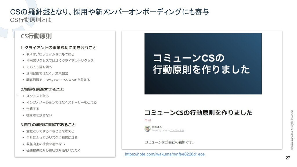 ©commmune Inc. All rights reserved 27 CSの羅針盤となり...