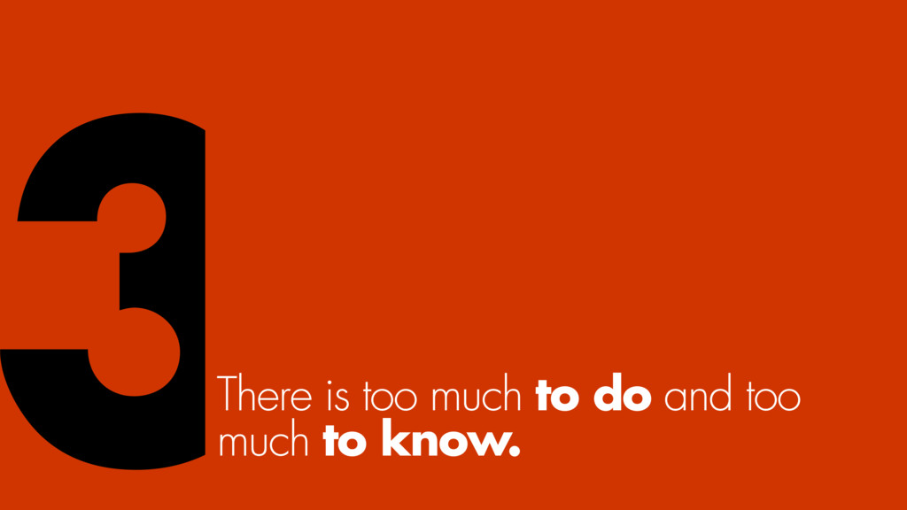 There is too much to do and too much to know. 3