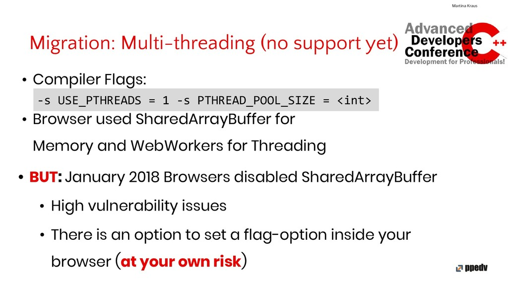 Migration: Multi-threading (no support yet) Mar...