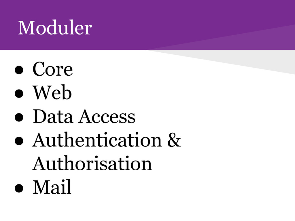Moduler ● Core ● Web ● Data Access ● Authentica...