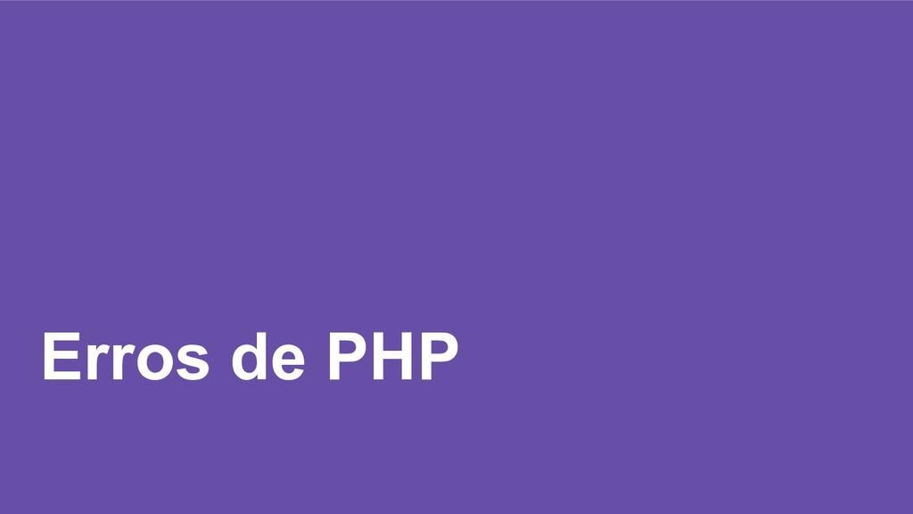 Erros de PHP