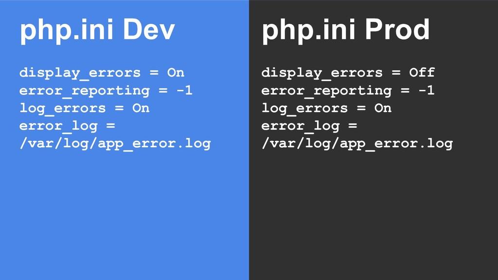 php.ini Dev display_errors = On error_reporting...