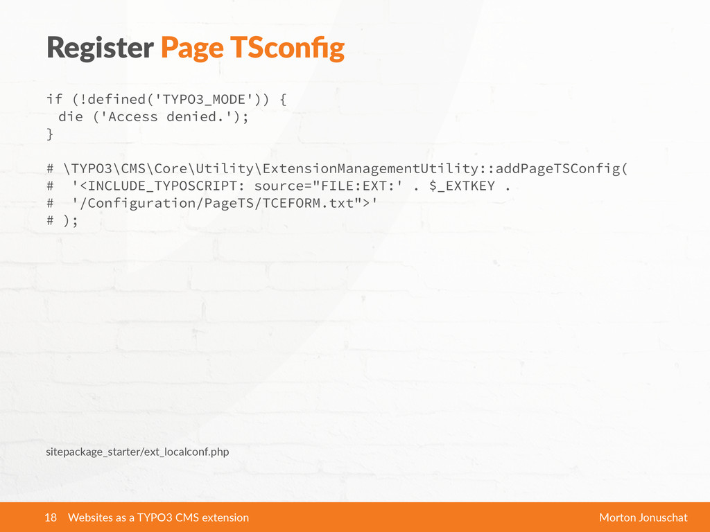 Register  Page  TSconfig if (!defined('TYPO3_MOD...